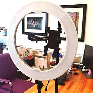 Photo of setup of my ring light with an arkon remarkable stand.